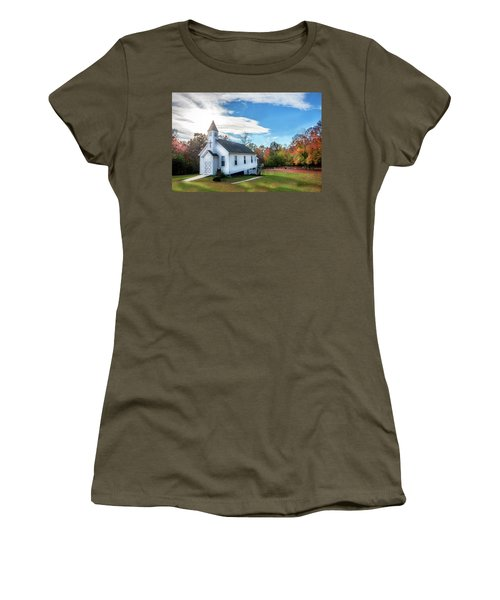 Small Wooden Church In The Countryside During Autumn Women's T-Shirt (Athletic Fit)