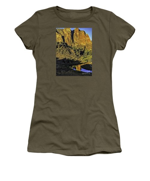 Women's T-Shirt (Junior Cut) featuring the photograph Smith Rock Reflections-1 by Nancy Marie Ricketts