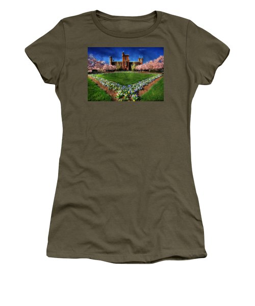Spring Blooms In The Smithsonian Castle Garden Women's T-Shirt (Junior Cut) by Shelley Neff