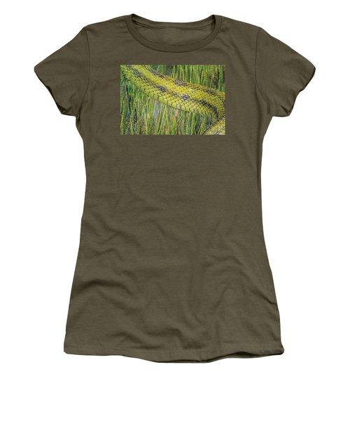 Women's T-Shirt featuring the digital art Snake In The Grass Textures by Richard Goldman