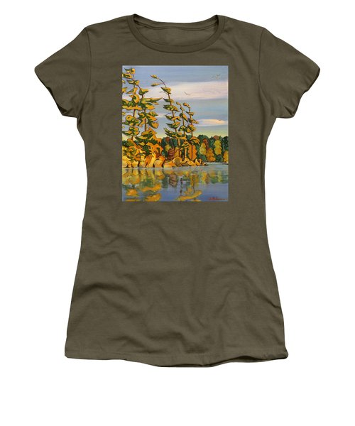 Snake Island In Fall Sunset Women's T-Shirt (Junior Cut) by David Gilmore
