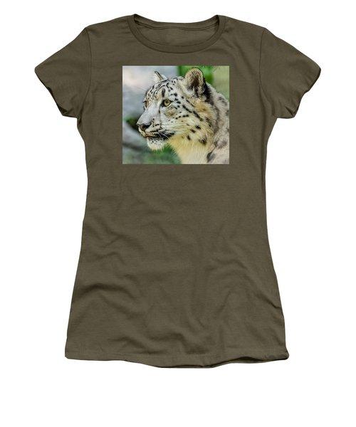 Snow Leopard Portrait Women's T-Shirt (Junior Cut) by Yeates Photography
