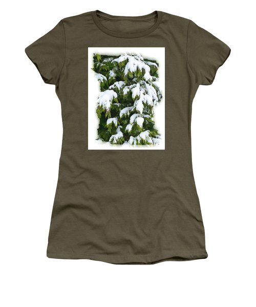 Women's T-Shirt (Junior Cut) featuring the photograph Snowy Cedar Boughs by Will Borden