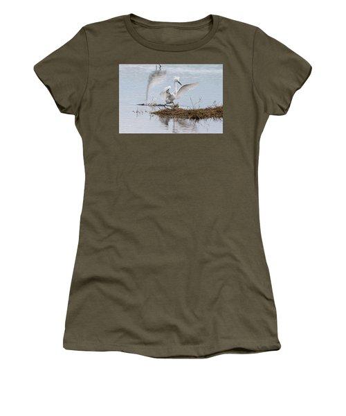 Snowy Egret Chasing His Dinner Women's T-Shirt