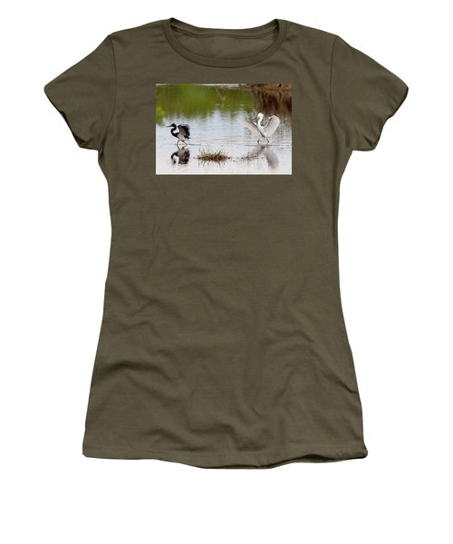 Snowy Egret Chasing Other Bird Out Of Feeding Area Women's T-Shirt