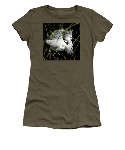 Women's T-Shirt (Athletic Fit) featuring the photograph Snowy Egret by Steven Sparks