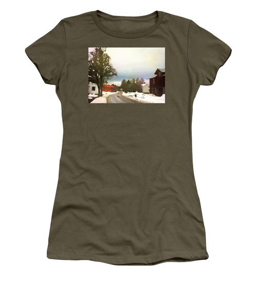 Snowy Street With Red House Women's T-Shirt