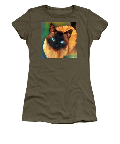 Women's T-Shirt (Athletic Fit) featuring the digital art Socrates Felis Catus by Iowan Stone-Flowers