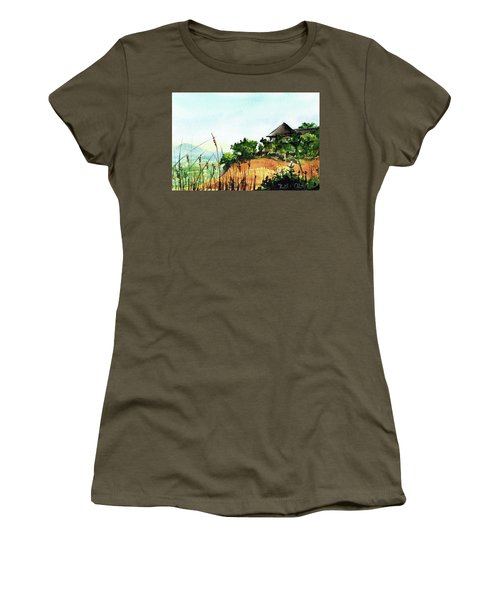 Women's T-Shirt (Athletic Fit) featuring the painting Solitary Cottage In Malawi by Dora Hathazi Mendes