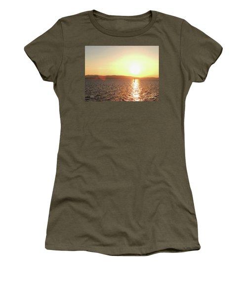 Solitary Sailboat Women's T-Shirt (Junior Cut) by Felipe Adan Lerma