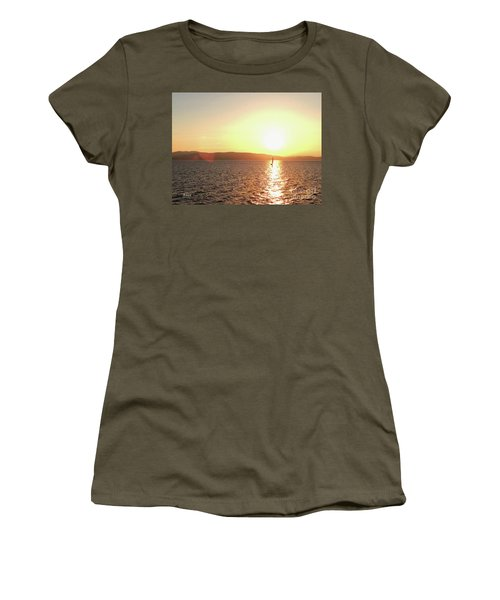 Solitary Sailboat Women's T-Shirt (Athletic Fit)