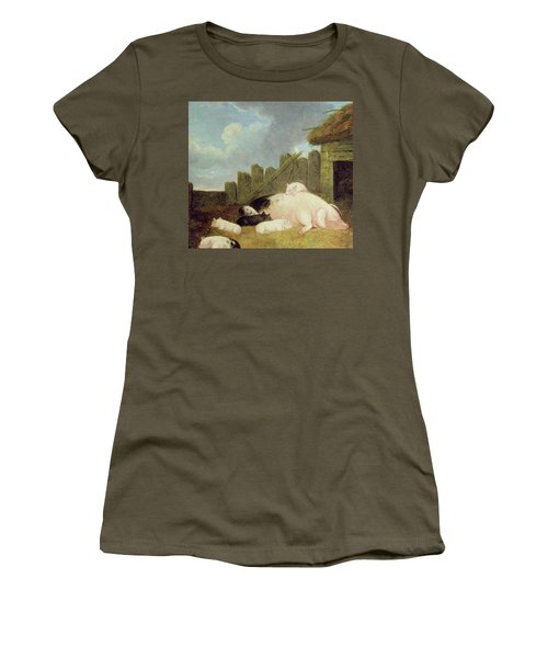 Sow With Piglets In The Sty  Women's T-Shirt