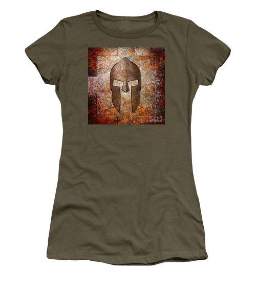 Spartan Helmet On Rusted Riveted Metal Sheet Women's T-Shirt