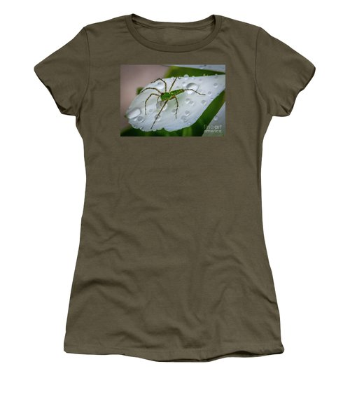 Spider And Flower Petal Women's T-Shirt (Junior Cut) by Tom Claud