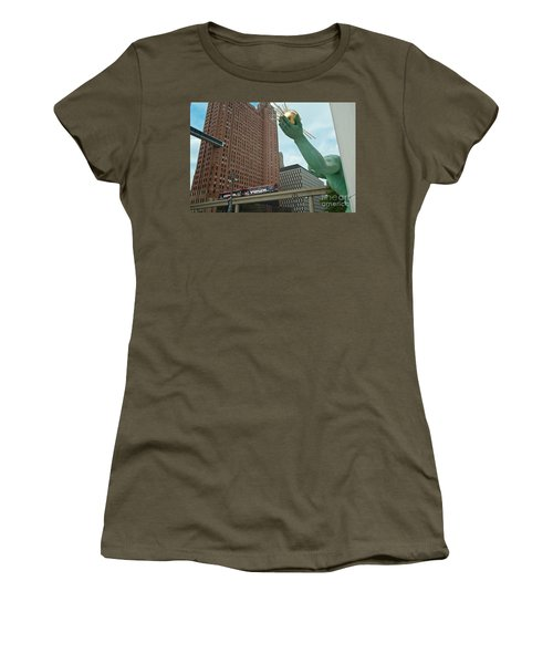 Spirit Of Detroit And People Mover Women's T-Shirt (Athletic Fit)