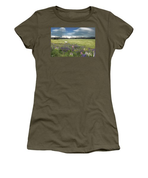 Spirit Pony In High Country Lupine Field Women's T-Shirt (Athletic Fit)