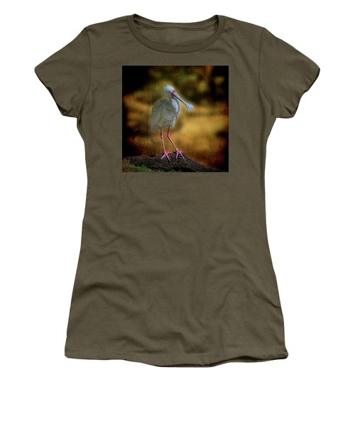 Women's T-Shirt (Athletic Fit) featuring the photograph Spoonbill by Lewis Mann