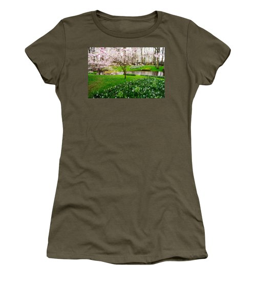 Women's T-Shirt (Junior Cut) featuring the photograph Spring Blossom In Keukenhof Garden by Jenny Rainbow