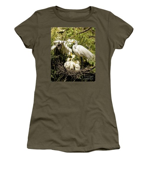 Women's T-Shirt (Junior Cut) featuring the photograph Spring Egret Chicks by Robert Frederick