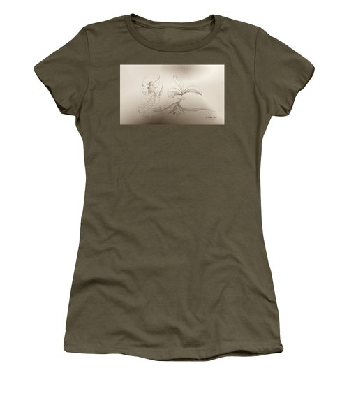 Women's T-Shirt (Athletic Fit) featuring the mixed media Spring Feelings 2 by Denise Fulmer