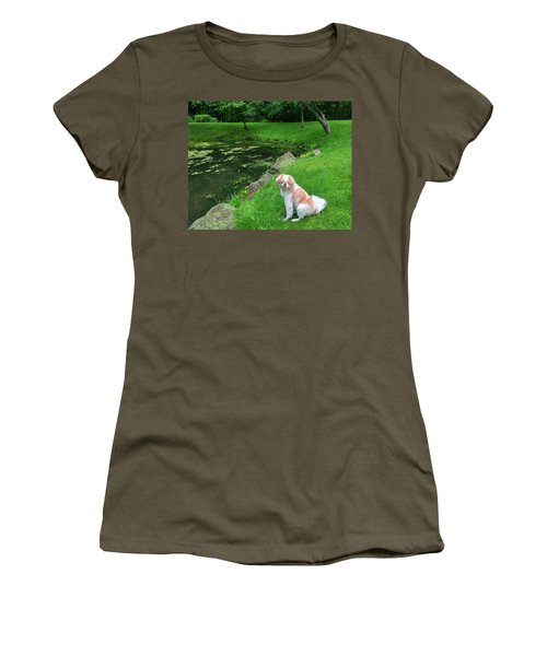 Women's T-Shirt (Athletic Fit) featuring the photograph Spring Green Japanese Chin by Roger Bester