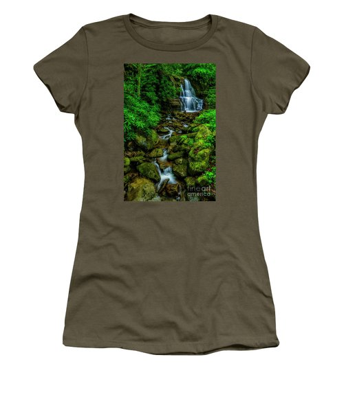 Spring Green Waterfall And Rhododendron Women's T-Shirt