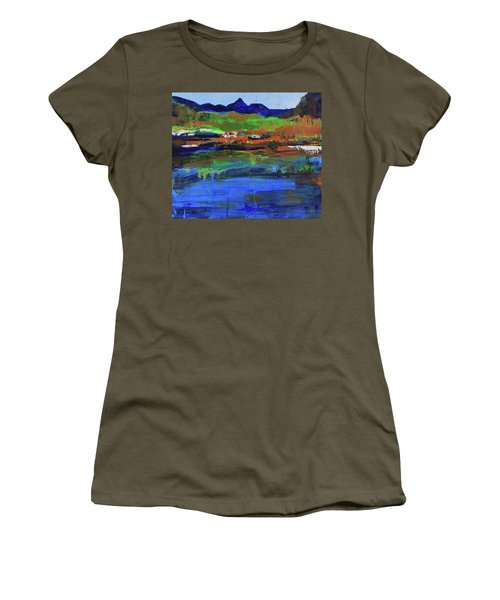 Women's T-Shirt (Athletic Fit) featuring the painting Spring In High Country by Walter Fahmy