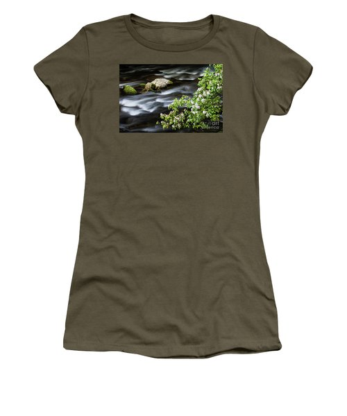 Women's T-Shirt (Junior Cut) featuring the photograph Spring On The Oconaluftee River - D009923 by Daniel Dempster
