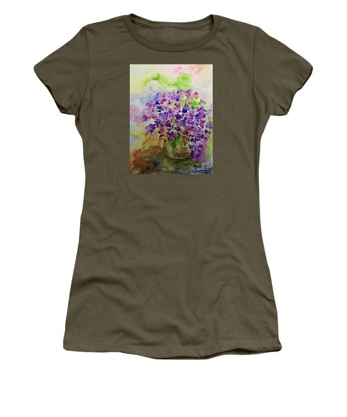Women's T-Shirt (Junior Cut) featuring the painting Spring Purple Flowers Watercolor by AmaS Art