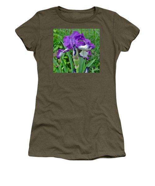 Women's T-Shirt (Junior Cut) featuring the photograph Spring Purple Iris by Marsha Heiken