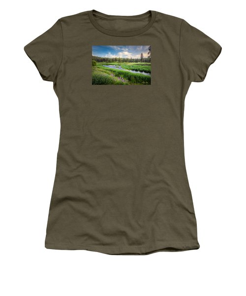 Women's T-Shirt (Junior Cut) featuring the photograph Spring River Valley by Rikk Flohr