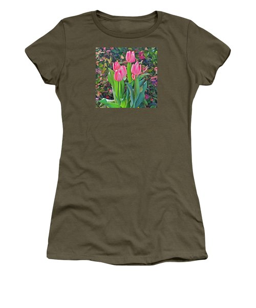Spring Show 14 Pink Tulips  Women's T-Shirt (Junior Cut) by Janis Nussbaum Senungetuk