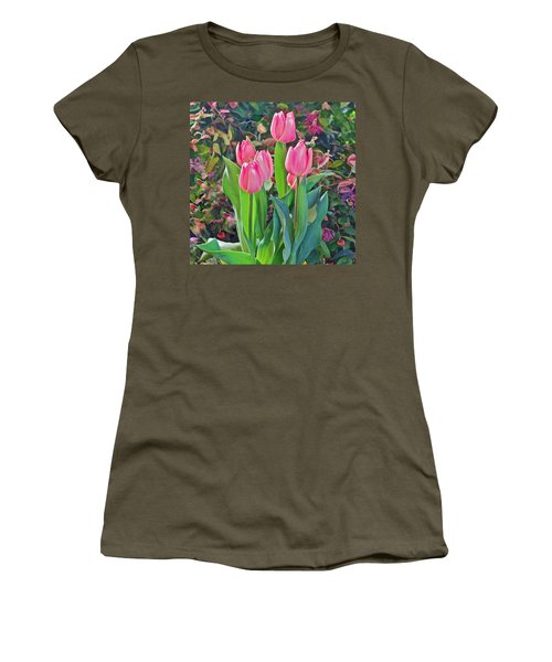 Spring Show 14 Pink Tulips  Women's T-Shirt