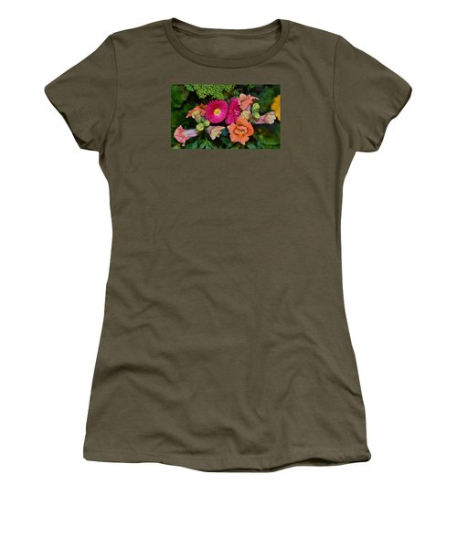 Spring Show 15 Snapdragons And English Daisy Women's T-Shirt (Junior Cut) by Janis Nussbaum Senungetuk