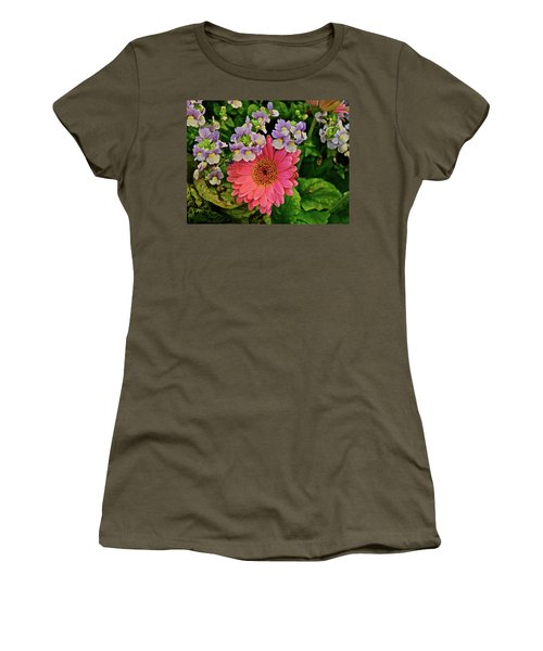 Women's T-Shirt (Athletic Fit) featuring the photograph Spring Show 18 Gerbera Daisy With Snapdragons by Janis Nussbaum Senungetuk