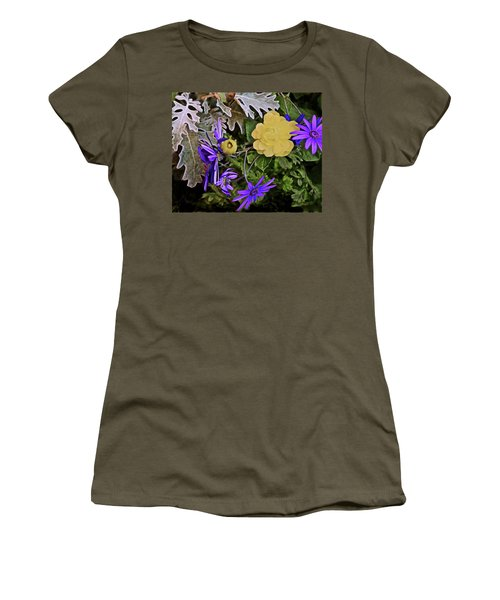 Women's T-Shirt (Athletic Fit) featuring the photograph Spring Show 18 Persian Buttercup With Florist's Cineraria 2 by Janis Nussbaum Senungetuk