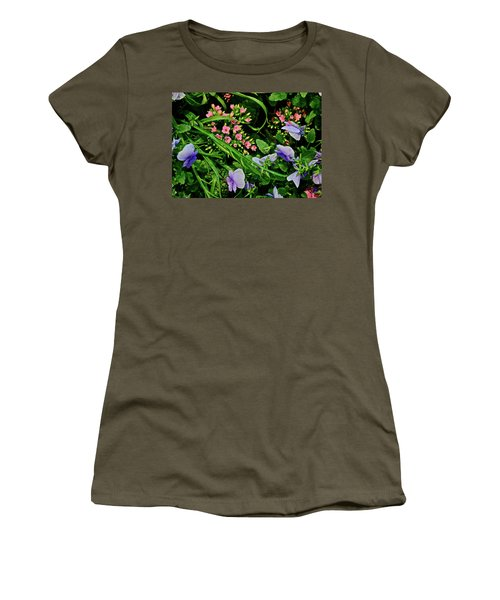 Women's T-Shirt (Athletic Fit) featuring the photograph Spring Show 18 Pink Kalanchoe And Viola by Janis Nussbaum Senungetuk
