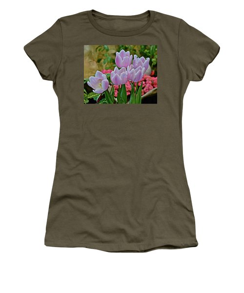Women's T-Shirt (Athletic Fit) featuring the photograph Spring Show 18 Pink Tulips And Montego Rose Snapdragons by Janis Nussbaum Senungetuk