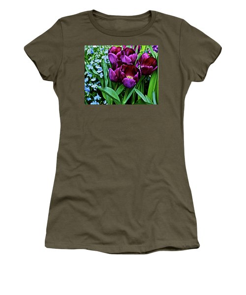 Women's T-Shirt (Athletic Fit) featuring the photograph Spring Show 18 Red Violet Tulips And Lobelia by Janis Nussbaum Senungetuk