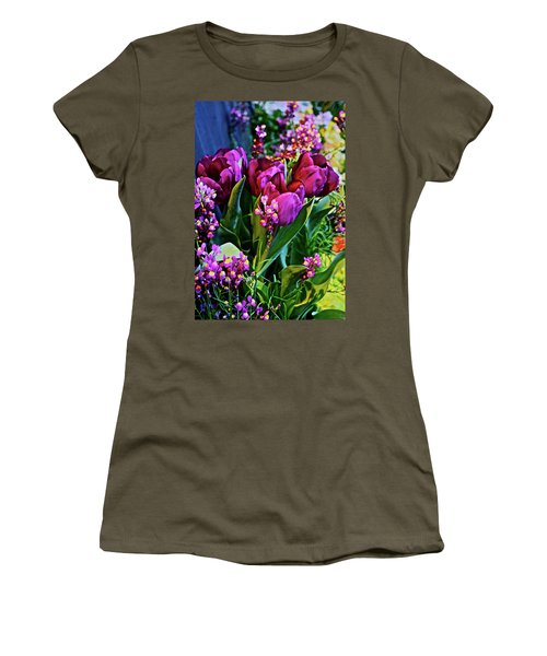 Women's T-Shirt (Athletic Fit) featuring the photograph Spring Show 18 Red Violet Tulips With Toadflax 1 by Janis Nussbaum Senungetuk