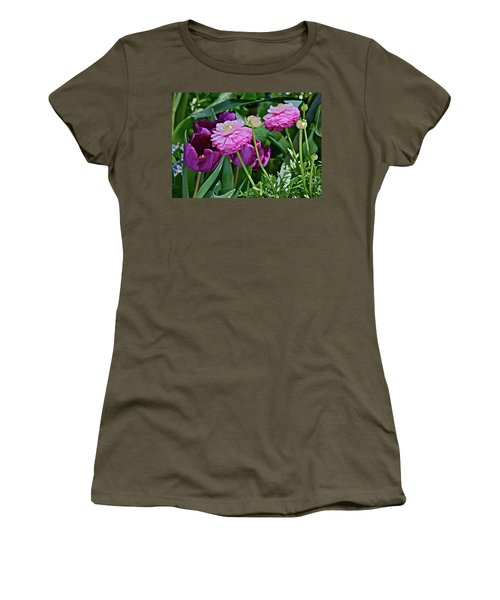 Women's T-Shirt (Athletic Fit) featuring the photograph Spring Show 18 Tulips And Ranunculus by Janis Nussbaum Senungetuk