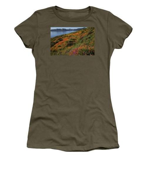 Women's T-Shirt (Junior Cut) featuring the photograph Spring Wildflower Season At Diamond Lake In California by Jetson Nguyen