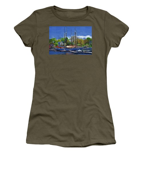 Springtime In The Harbor Women's T-Shirt (Junior Cut) by Kirt Tisdale