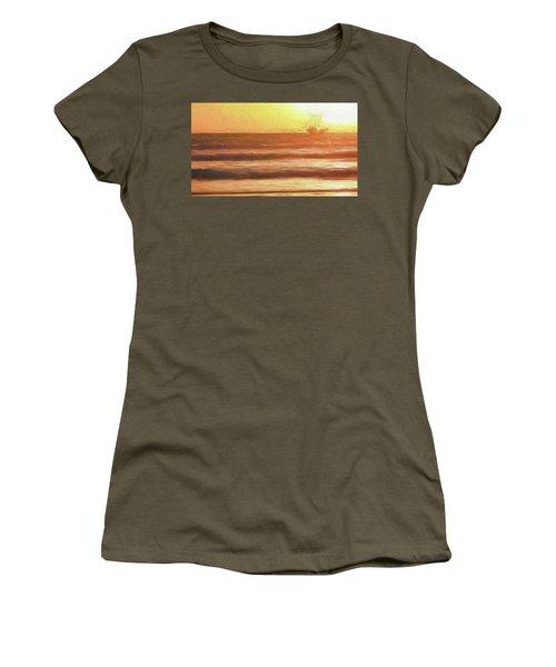 Squid Boat Sunset Women's T-Shirt