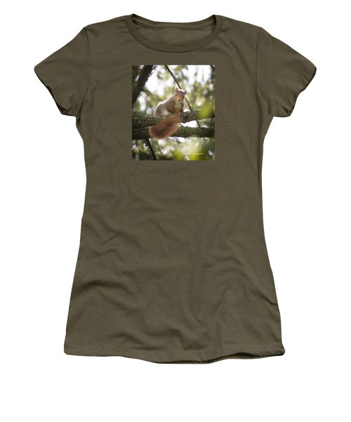 Women's T-Shirt featuring the photograph Squirrel On The Spot by Stwayne Keubrick