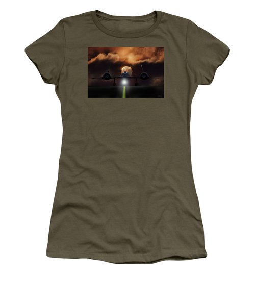 Women's T-Shirt (Junior Cut) featuring the digital art Sr-71 Supermoon by Peter Chilelli