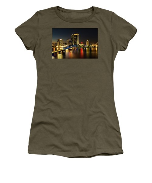 St Johns River Skyline By Night, Jacksonville, Florida Women's T-Shirt