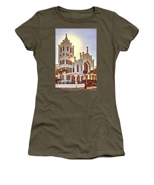 Women's T-Shirt (Athletic Fit) featuring the photograph St. Paul's Episcopal Church - Key West by Bob Slitzan
