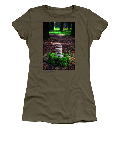 Women's T-Shirt (Junior Cut) featuring the photograph Stacked Stones And Fairy Tales Iv by Marco Oliveira