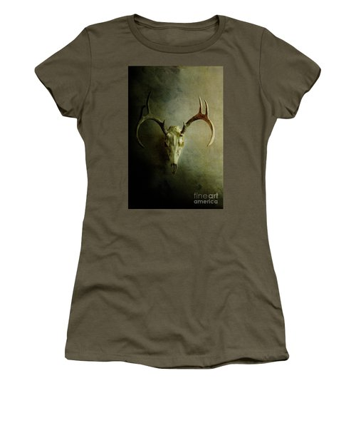 Women's T-Shirt (Junior Cut) featuring the photograph Stag Skull by Stephanie Frey
